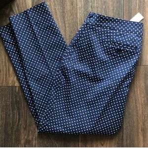 NWT Talbots Curvy fit navy polka dot pants 8P